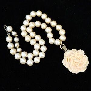 Repurposed 1950s Pearl Necklace Flower Pendant